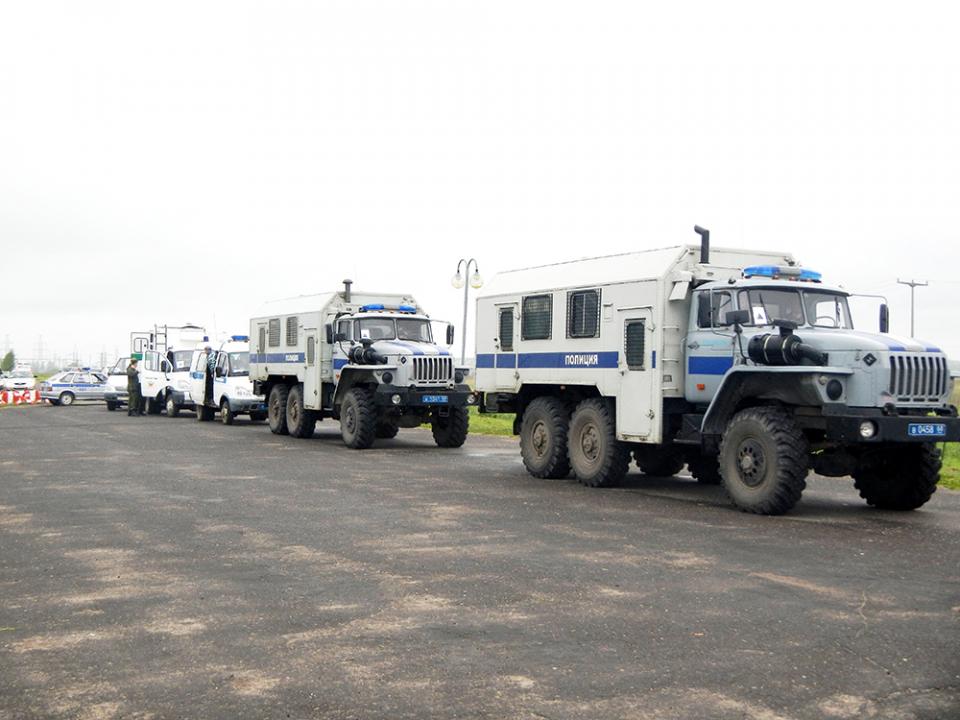 Прибытие группировки оперативного штаба в Тамбовской области в район проведения тактико-специального учения