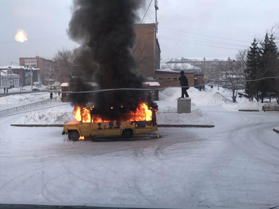 «Взорванный» террористами автобус