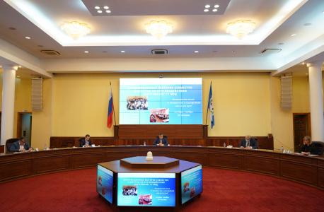 Заседание АТК 18.11.2020. На фото участники заседания, во главе председатель АТК–Губернатор Иркутской области И.И. Кобзев