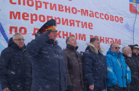 Митинг посвященный открытию спортивно-массового мероприятия по лыжным гонкам памяти Героя России Александра Перова.