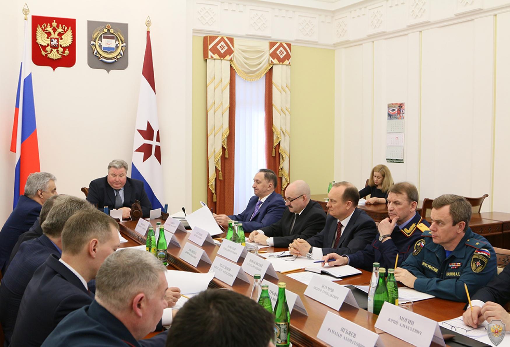 Глава Республики Мордовия В.Д. Волков открывает заседание Антитеррористической комиссии Республики Мордовия
