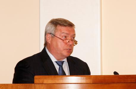 Выступает председатель АТК в Ростовской области, губернатор Ростовской области В.Ю. Голубев