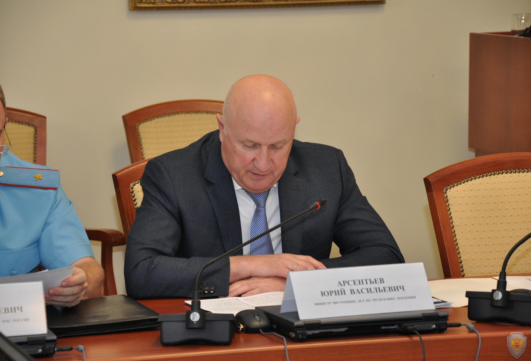 Выступление министра внутренних дел Республики Мордовия Арсентьева Ю.В.